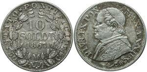 O1815 Vatican Pío IX 10 soldi 1867 R Roma Silver