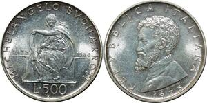 O1818 Italy 500 Lire Michel Angel Repubblica 1975 Argent FDC