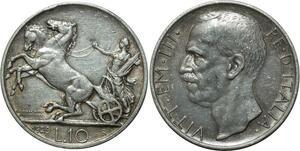 O1823 Italy Italia 10 Lire Vittorio Emanuele III 1929 R Roma Silver