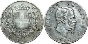 O1825 Italy Vittorio Emanuele II 5 Lire 1872 M Milan Argent