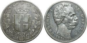 O1827 Italy 5 Lire Umberto I 1879 R Rome Silver