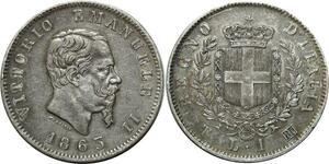 O1828 Scarce !! Italy Lira Vittorio Emanuele II  1863 T Torino Silver AU !!!