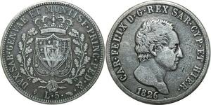 O1831 Italy 5 Lire Charles Felix 1826 L Turin Silver