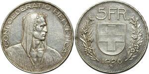 O1836 Switzerland 5 Francs Switzerland 1926 B Berne Silver XF to AU !!!