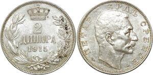 O1843 Serbia Serbie Peter I 1903-1918 2 Dinara 1915 Silver AU !!!