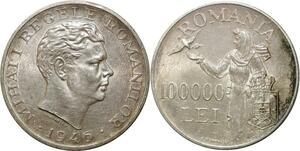 O1846 Romania Roumanie 100000 lei Michel Ier 1946 Silver AU UNC !!