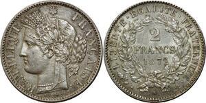 O1855 Rare 2 Francs Cérès  1872 K Bordeaux Argent Silver SUP ++++
