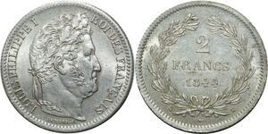 O1857 Tres Rare 2 Francs Louis Philippe 1844 A Paris PCGS MS 62 CI