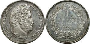 O1860 Rare 1 Fanc Louis Philippe 1847 A Paris Argent Splendide