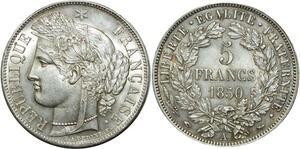 O1863 Tres Rare 5 Francs Cérès 1850 A Paris Argent Splendide FDC !!! ->MO