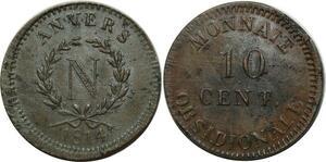 O1868 Rare 10 Centimes Anvers à l'N Frappe Wolschot 1814 PCGS MS62 Splendide