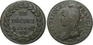 O1871 Rarissime Un Décime dupré an 7 BB Strasbourg coin choqué PCGS MS62