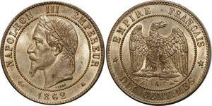 O1876 Exceptionnelle 10 Centimes Napoléon III 1862 A Paris FDC MS64