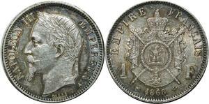 O1890 Rare 1 Franc Napoléon III 1868 A Paris argent Superbe