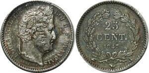 O1899 25 Centimes Louis Philippe 1847 A Paris Argent Silver SUP