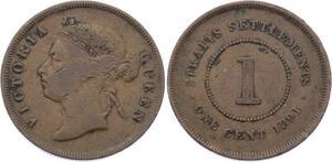 O1937  Singapore Straits Settlements 1 cent 1891