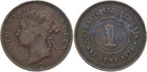O1938 Singapore Straits Settlements 1 cent 1874