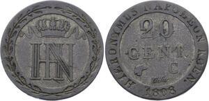 O1944  Germany Westphalie 20 centimes Jérôme Napoléon 1808 C Cassel