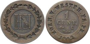 O1947  Germany Royaume Westphalie 1 Centime Jérôme Napoléon 1812 C Cassel SUP