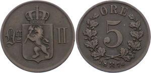 O1955  Norway Norvege 5 Ores Oscar II 1876