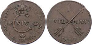 O1958  Rare !! Sweden Sweden 1 skilling Carl XIV Johan 1830