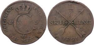 O1969  Sweden 1/2 Skilling Karl XIV 1821