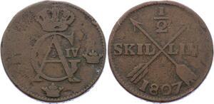 O1974  Schweden Suede 1/2 Skilling 1807 Gustav IV