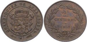 O1988  Scarce !! Luxembourg 2 1/2 Centimes William III 1854
