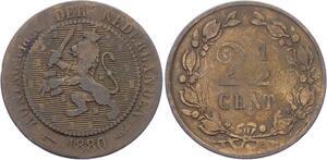 O1990  Niederland Netherlands 2 1/2 Cent 1880 Wilhelm III