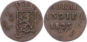 O1991  Rare !! Nederlands-Indisch (1816-1949) 1/8 Stuiver 1823 Error