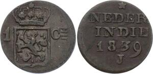 O1997 Dutch East Indies India 1 Cent 1839 J Willem I 1815 - 1840