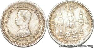 S8039 Thailand Rama V 1868-1910 1/8 Baht 121 1902 Argent Silver -> Faire Offre