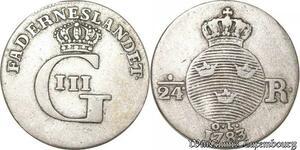 S8072 Sweden Suède Gustav III 1771 1792 - 1/24 Ore 1783 Stockholm Argent Silver