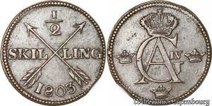 S8085 Sweden Suède 1/2 Skilling Avesta 1803 Gustav IV Adolf 1792 1809