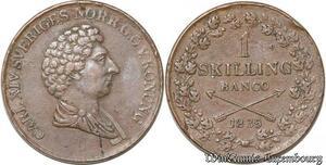 S8102 Rare Sweden Suède 1 Skilling Banco 1835 Carl XIV 1818 - 1844 XF !