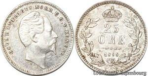 S8104 Sweden Suède Oscar I 25 Öre 1855 Silver ->Make offer
