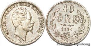S8105 Sweden Suède Oscar I 10 Öre 1855 G Silver ->Make offer
