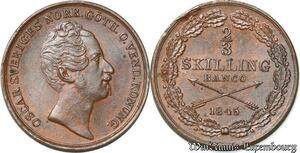 S8109 Sweden Suède Oscar I 2/3 Skilling Banco 1845 BU ! UNC ! ->Make offer