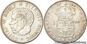 S8114 Sweden Suède Gustav VI 1 Kronor 1964 Silver ->Make offer