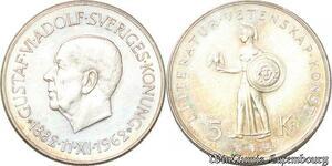 S8125 Suède Sweden Gustav VI Adolf 1950 1973 5 Kronor 1962 UNC Argent