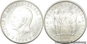 S8127 Suède Sweden Gustav VI Adolf 1950 - 1973 5 Kronor 1959 FDC Argent Silver