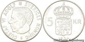 S8129 Suède Sweden Gustav VI Adolf 1950 1973 5 Kronor 1954 Argent