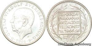 S8131 Suède Sweden Gustav VI Adolf 1950 1973 5 Kronor Stockholm 1966 Silver
