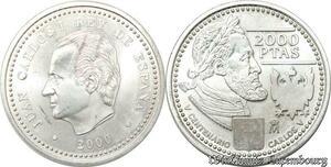 S8149 Spain 2000 Pesetas Juan Carlos I 1975- 2014 Argent 2000 FDC