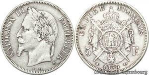 S8157 5 Francs Napoleon III 1870 A Paris Argent Silver - Faire Offre