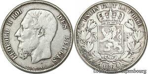 S8176 Belgium 5 Francs Leopold II 1869 Argent Silver - Faire Offre