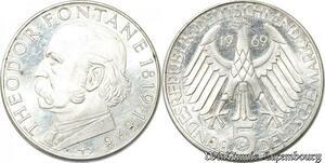 S8178 Allemagne 5 Marks Fontane 1969 C Argent Silver SPL FDC - Faire Offre