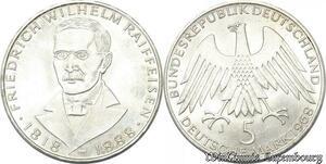 S8189 Allemagne 5 Marks Reffeisen 1968 Argent Silver SPL FDC - Faire Offre