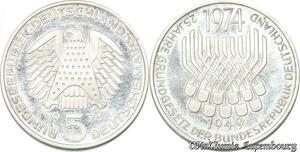 S8191 Allemagne 5 Marks 1974 Bundesrepublik F Argent Silver SPL FDC