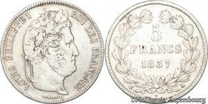S8197 5 Francs Louis Philippe 1837 A Paris Argent Silver - Faire Offre
